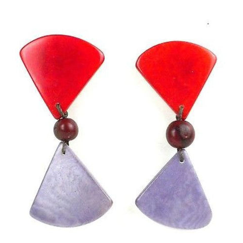 Tagua Hourglass Earrings - Sunset Orange Handmade and Fair Trade