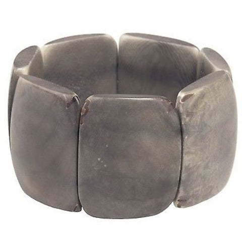Polished Tagua Nut Bracelet in Soft Gray Handmade and Fair Trade