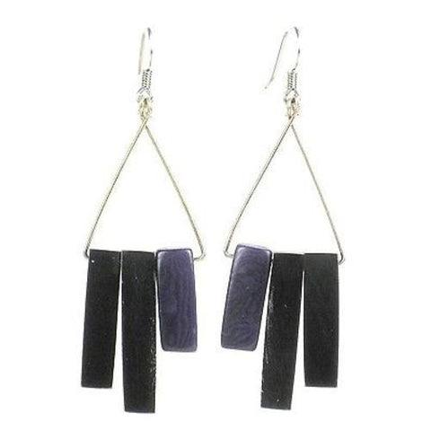 Bullhorn and Tagua Sticks Triangle Earrings - Plum  r Handmade and Fair Trade