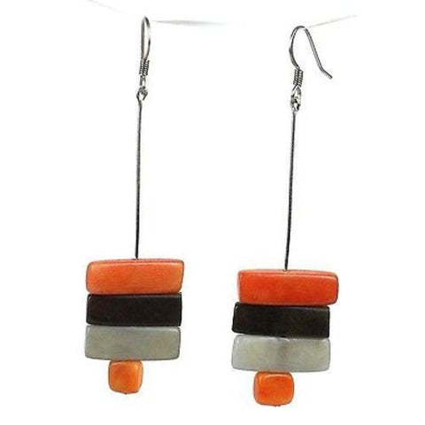 Rialto Tagua Nut Earrings in Papaya Handmade and Fair Trade