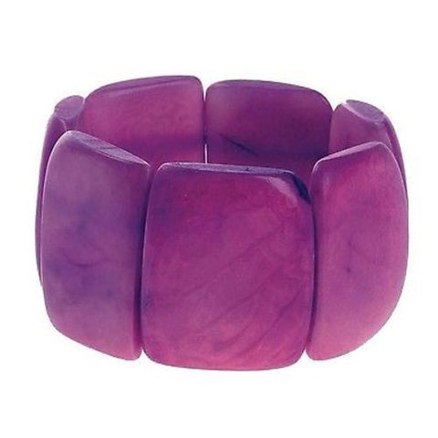 Polished Tagua Nut Bracelet in Berry Handmade and Fair Trade