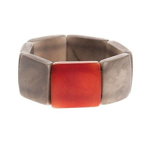 Accented Tagua Bracelet Soft Gray Handmade and Fair Trade