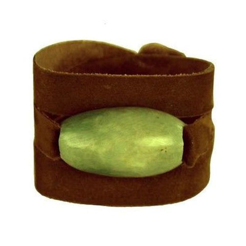 Tagua and Leather Wrap Bracelet - Leaf Green Handmade and Fair Trade