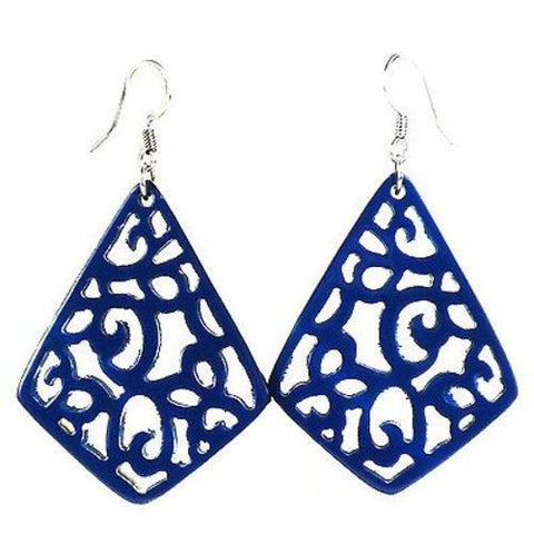 Handmade Bullhorn Juliet Lace Earrings - Bluebird Handmade and Fair Trade