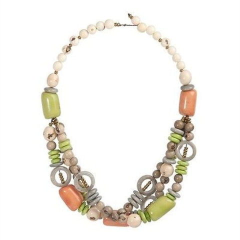 Tagua and Seed Miranda Necklace in Soft Gray Handmade and Fair Trade