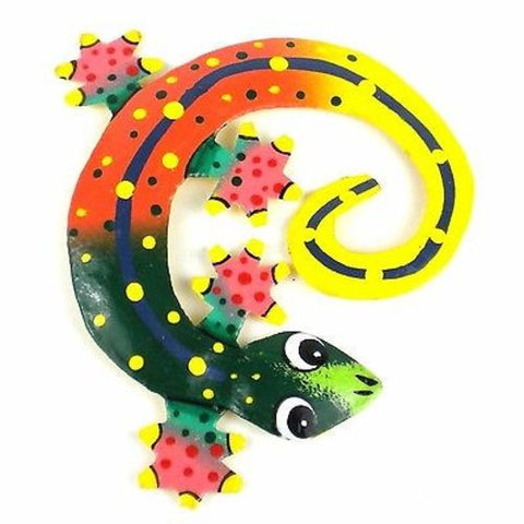Hand Painted Round Metal Gecko Sunset Design Handmade and Fair Trade