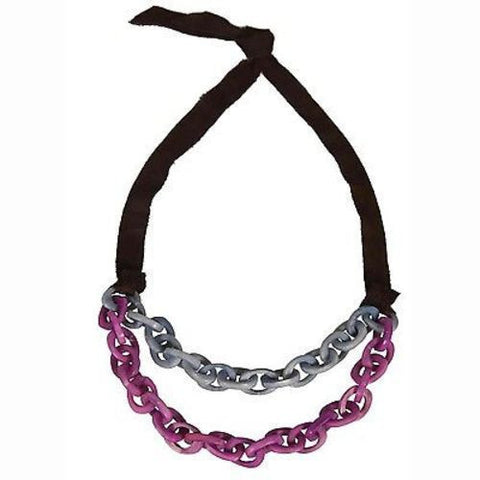 Dual Tagua Link Necklace in Periwinkle Handmade and Fair Trade