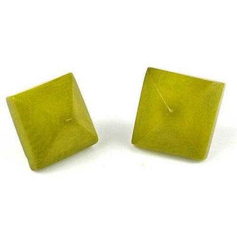 Spike Tagua Nut Stud Earrings in Leaf Green Handmade and Fair Trade