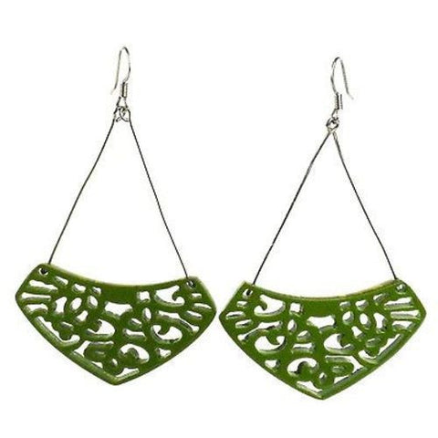 Simone Lace Earrings in Leaf Green Handmade and Fair Trade