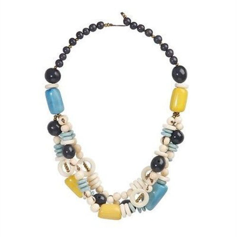 Tagua and Seed Miranda Necklace in Cream Handmade and Fair Trade