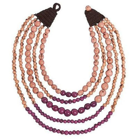 Cascade Acai Seed Necklace in Nude/Berry Handmade and Fair Trade