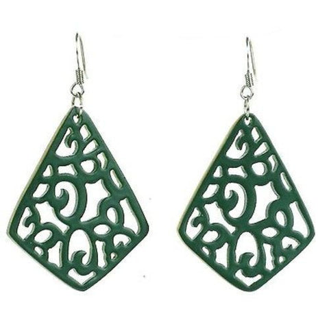 Handmade Bullhorn Juliet Lace Earrings - Hunter Green Handmade and Fair Trade