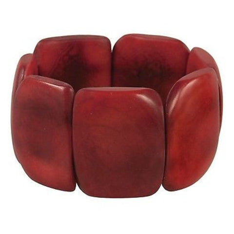 Polished Tagua Nut Bracelet in Burgundy Handmade and Fair Trade
