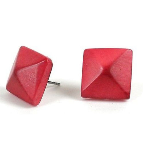 Spike Tagua Nut Stud Earrings in Coral Handmade and Fair Trade