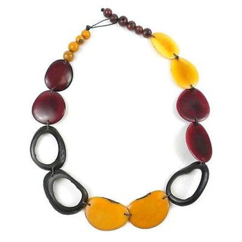 Ventana Tagua Necklace in Sangria Handmade and Fair Trade