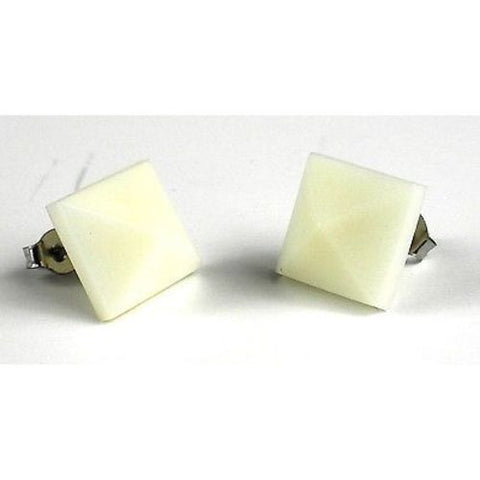 Spike Tagua Nut Stud Earrings in Cream Handmade and Fair Trade
