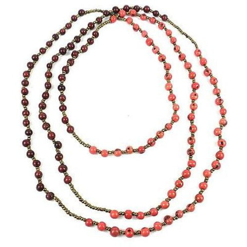 Colorblock Rope Necklace - Burgundy and Coral Handmade and Fair Trade