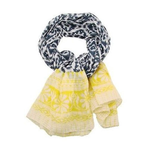 Handmade Ikat Floral Scarf - Blue & Yellow Handmade and Fair Trade