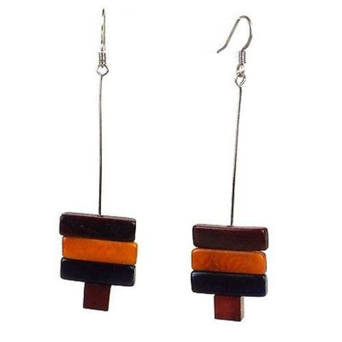 Rialto Tagua Nut Earrings in Burgundy Handmade and Fair Trade