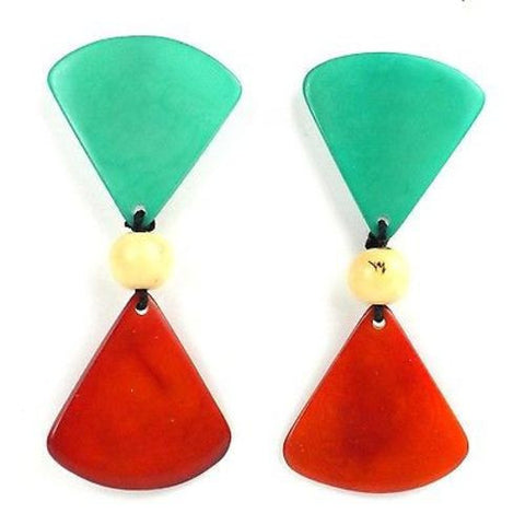 Tagua Hourglass Earrings - Sea Green Handmade and Fair Trade