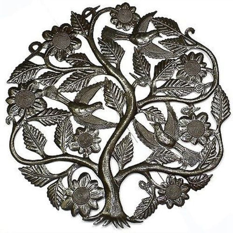 Tree of Life with Flowers Metal Wall Art 24-inch Diameter Handmade and Fair Trade