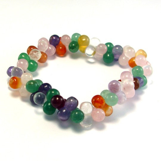 Natural Multi-Color Agate Crystal Bracelet