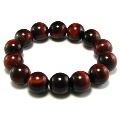 Natural Dark Red Agate Tiger Eye Bracelet - 14 mm diameter