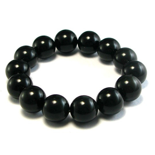 Natural Black Agate Obsidian Bracelet - 14 mm diameter