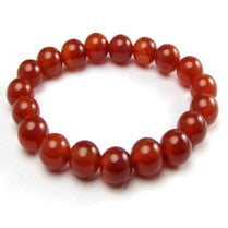 Natural Red Agate Bracelet - 8 mm diameter
