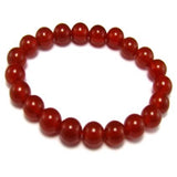 Natural Black and Red Agate Bracelet - 14 mm diameter