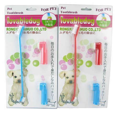 Portable Pet Toothbrush with Replacement Heads-colors Red