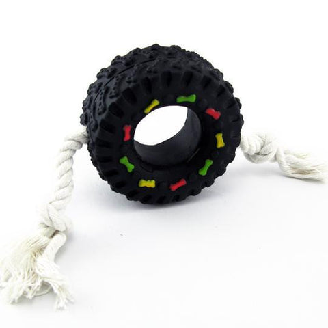Squeaky Tire Dog Toy with Rope