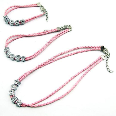 Pink 7.8 to 15 inches Rope Dog Necklace-Length 15in (38.1cm)