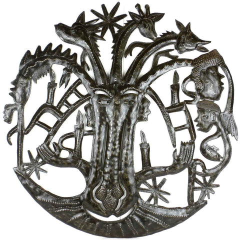 Haitian Metal Wall Art ce with Many Heads - 004 Handmade and Fair Trade