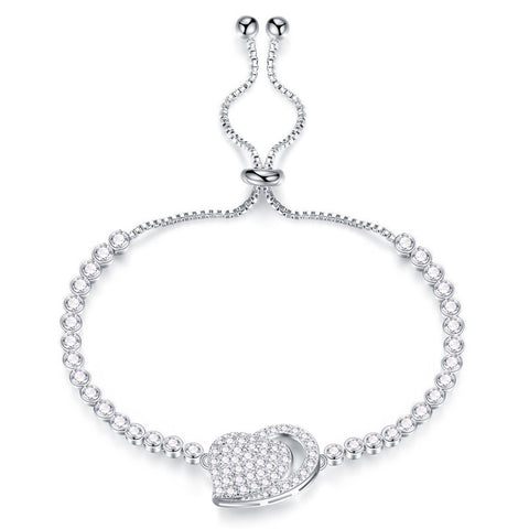 Exquisite bracelet jewelry platinum plating heart bracelet bracelet adjustable elegant lady