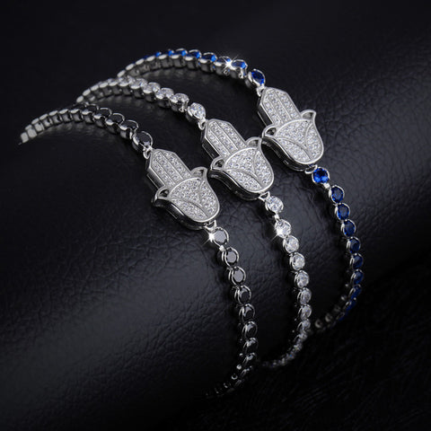 The new fashion accessories gift bestie exquisite hand of Fatima Copper Plated Platinum Bracelet-Diamond Blue