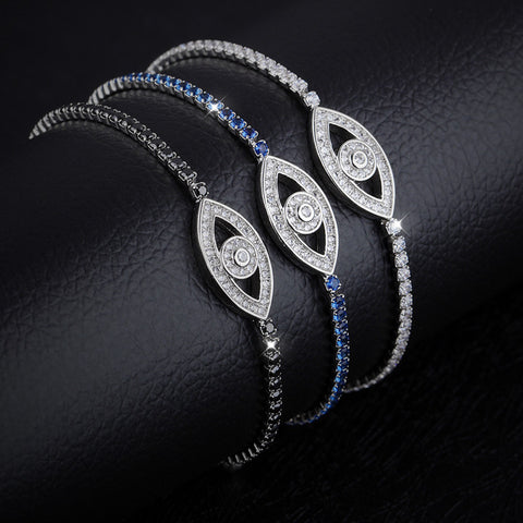 Shining diamond eyes Copper Plated Platinum Bracelet mysterious eye fine crystal jewelry jewelry bestie paragraph-Diamond Blue