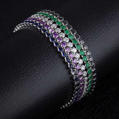 Simple fresh student gift accessories Copper Plated Platinum full diamond bracelet colored fine sweet-Diamond Purple