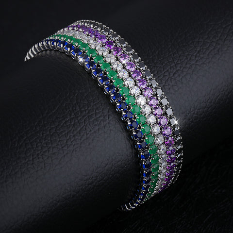 Fashion simple temperament diamond drill Bracelet full hand jewelry jewelry collocation 100 female personality-Diamond White