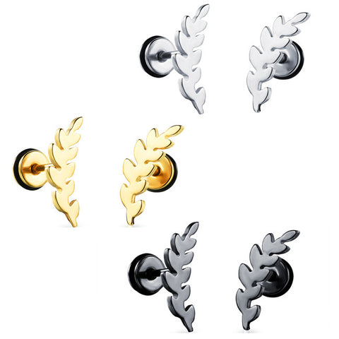 Titanium steel earring plating gold leaf ms screw stud earrings earrings birthday gift-Color Silver