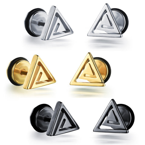 Titanium steel stud earrings electroplating golden triangle screw stud earrings Boyfriend earrings birthday present-Color Silver