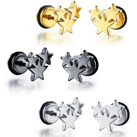 Men's titanium steel stud earrings electroplating gold personality contracted The pentagon star earrings birthday present-Color Silver