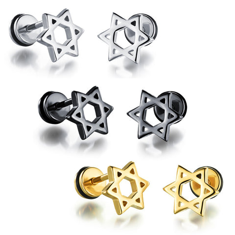 Men's titanium steel stud earrings electric plating personality contracted Hollow out six-pointed star earrings birthday present-Color Silver