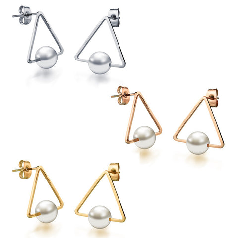 Ms champagne gold earrings titanium steel Shell pearl triangle stud earrings girlfriend birthday present-Color Ecru