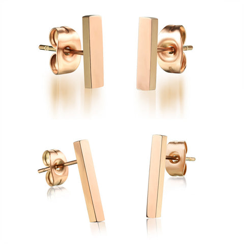 Ms. RoseGold earrings titanium steel smooth a word a little stud earrings girlfriend birthday present-Size Long