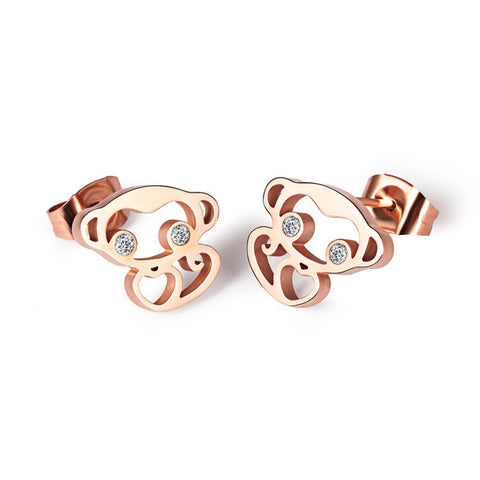 Ms earrings titanium steel RoseGold Zodiac monkey lovely earrings benmingnian The monkey stud earrings