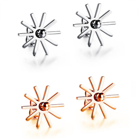 Han edition fine beautiful romantic snow studs of the sun Titanium steel Mosaic gold earrings lucky jewelry gifts-Color RoseGold