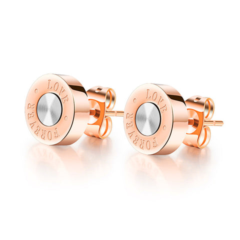 Han edition personality LOVE RoseGold plated titanium steel stud earrings