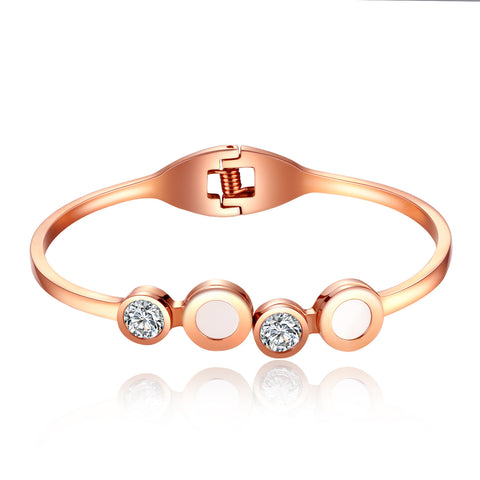 Korean white diamond inlaid titanium plating shell Fritillaria simple rose gold bracelets temperament casual