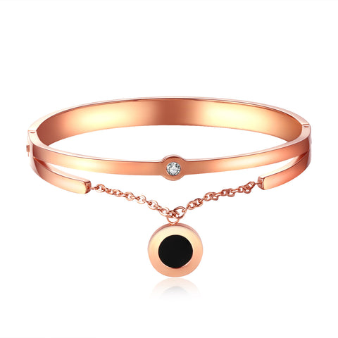 Titanium plating furnace rose gold jewelry black shell bracelet with single diamond bracelet hand decorated beautifully